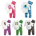3PCS Newborn Baby Girls Boys Clothing Set Cotton Full Sleeve Romper +Hat+Pants Stripes Baby Girls Boys Clothes Set