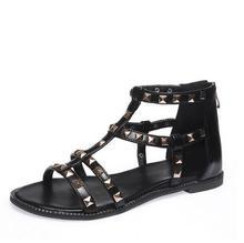 Хан издание летом новый плоские туфли личность заклепки большой молнии плоские туфли большие ярдов после Римские сандалии женская обувь