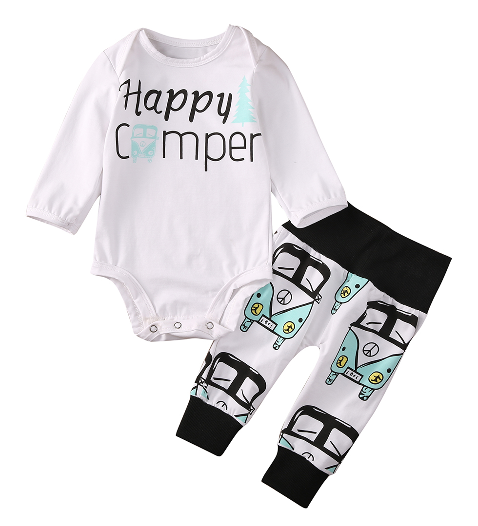 Cute Baby Kids Boys Girls Long Sleeve Happy Camper Rompers Tops+Car Print Pants Leggings 2pcs Outfit Set Clothes Cotton Autumn infant baby boy girl 2pcs clothes set kids short sleeve you serious clark letters romper tops car print pants 2pcs outfit set
