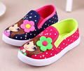New little girls canvas shoes sneaker slip on shoe red navy spring autumn baby shoes kids flats beautiful flower comfortable