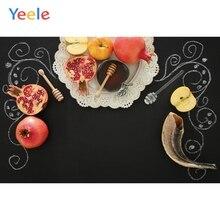 Yeele Vinyl Rosh Hashanah Photography Backdrop Shofar Pomegranates Apples Honey Black Photographic Background For Photo Studio