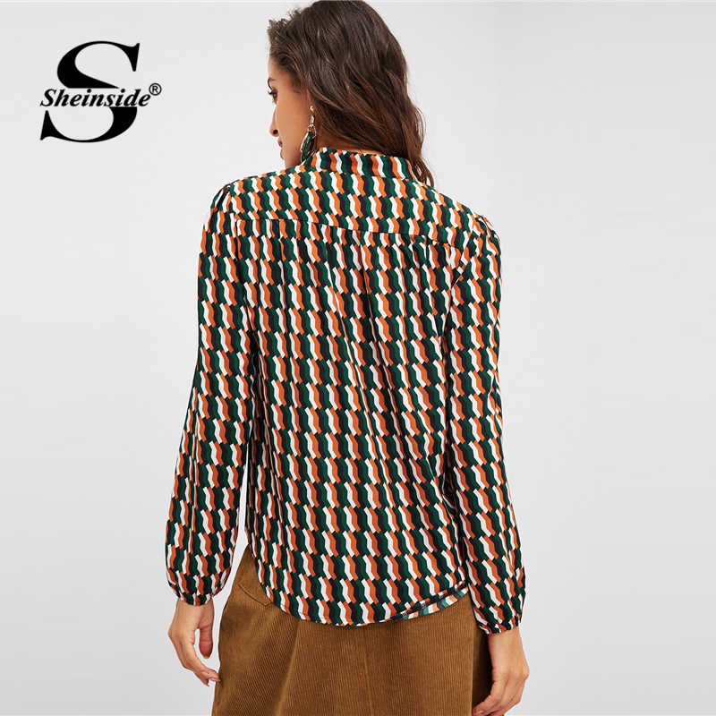 قميص أنيق مطبوع من Sheinsid بأكمام طويلة ورقبة على شكل V مناسب للمكتب للسيدات قطع علوية وبلوزات للنساء لخريف 2018 بلوزة متعددة الألوان قميص