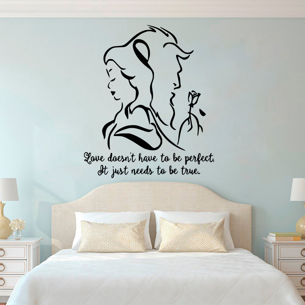 US $6.64 |Beauty And The Beast Wall Decal Romantic Vinyl Wall Sticker  Bedroom Living Room Decor Lover Gift Removable Movie Mural L913-in Wall  Stickers ...