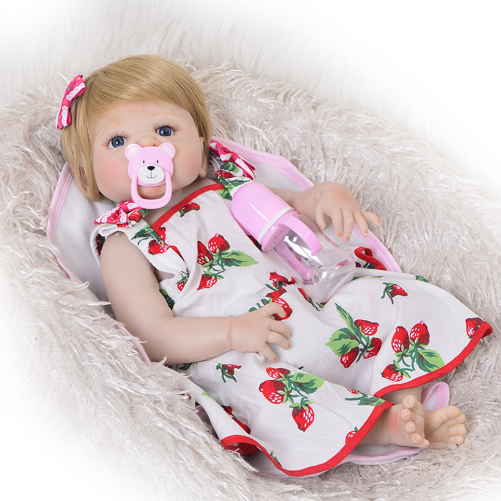 Newborn Doll 23 Inch Lifelike Reborn Alive Doll Full Body Silicone Magnetic Lovely Girl Baby Toy For Children Xmas Gift Can Bath nicery 18inch 45cm reborn baby doll magnetic mouth soft silicone lifelike girl toy gift for children christmas pink hat close