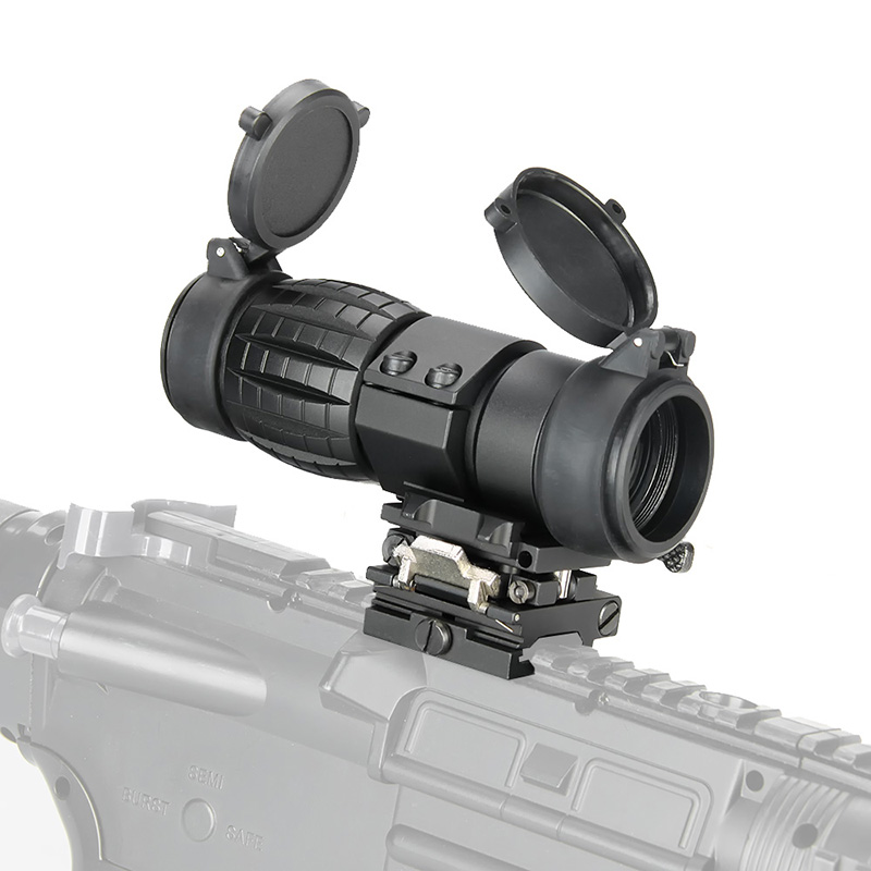 WIPSON visão Óptica 3X Lupa Scope Caça Compact Riflescope Vistas com Flip Up capa Apto para 20mm Rifle Gun Rail Mount