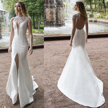 Eightree Front Split 2019 Mermaid Wedding Dresses Plus Size High Neck Beads Satin Bridal Gowns Lace Sweep Train Dress