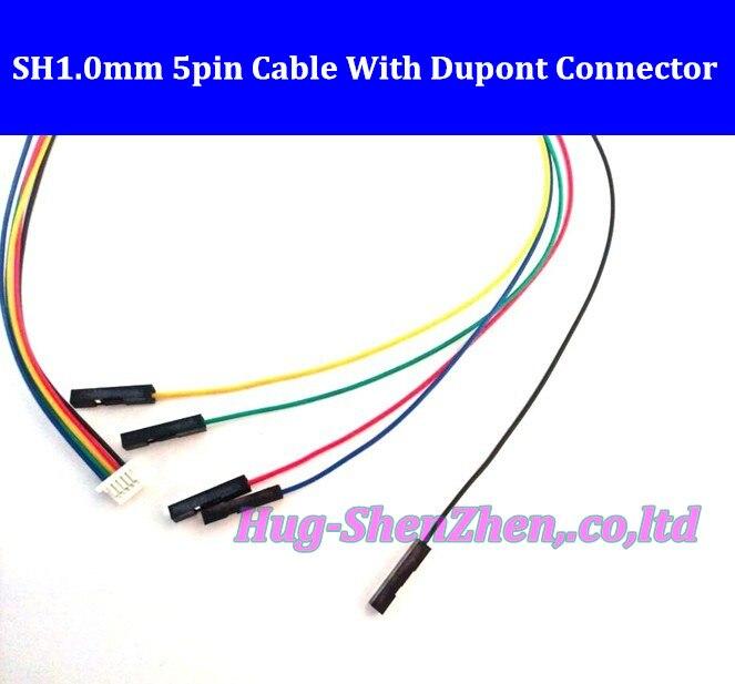 500 шт./лот Бесплатная доставка JST 1,0 мм SH1.0mm 5pin 5-контактный разъем кабеля провод с Dupont 1pin 1 P кабель на конце