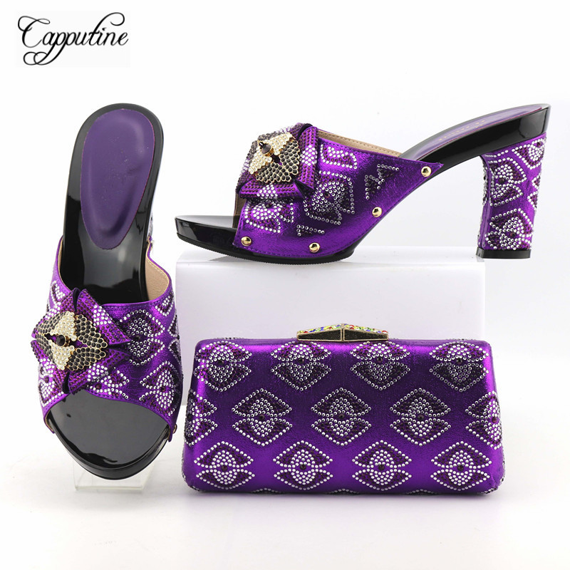 Capputine New Arrival Italian Shoes And Bag Set African Decoration Rhinestone Woman High Heels 9CM Shoes And Bag Set For Dress capputine new arrival italian rhinestone high heels shoes and bag set fashionable summer woman shoes and handbag set for party