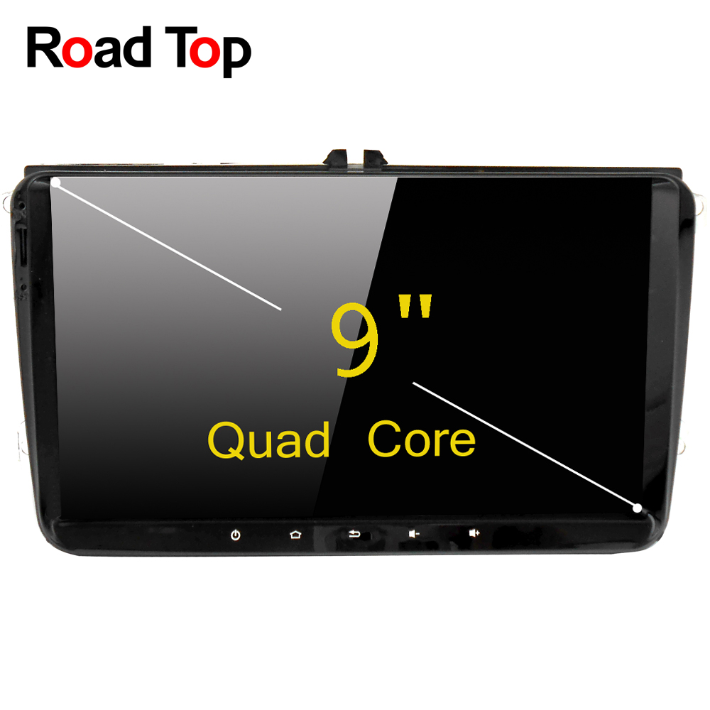 Road Top Android 6.0 System 9 inch Car GPS Navigation DVD Player Radio Head Unit for VW Tiguan Caddy Jetta Passat CC Touran