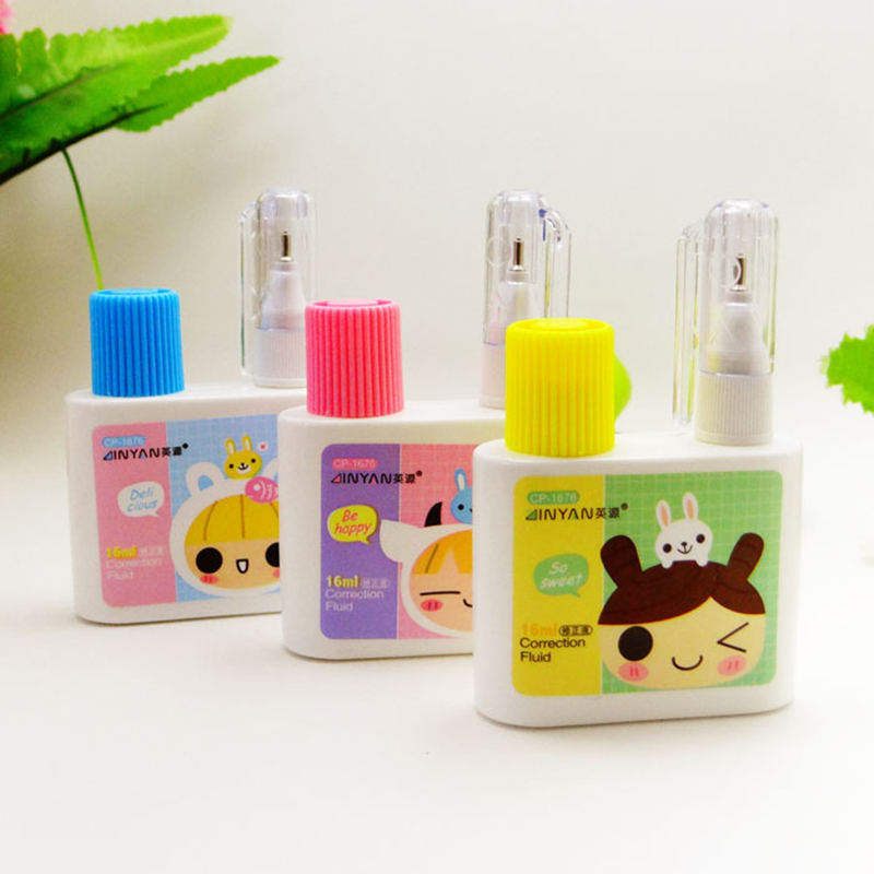 1PC Coloffice Kawaii Cute Correction Fluid Brush Dual Use Study Office Biggest-Selling Tools Cartoon Tape Three Colors Random