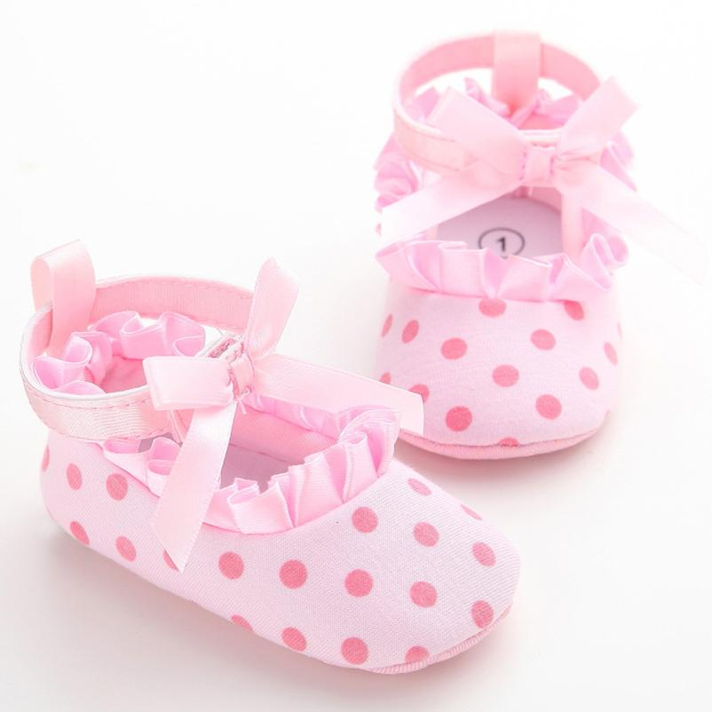 2017 Baby Shoes Dot Butterfly Anti-Slip Soft Toddler Shoes Princess Shoes BFOF