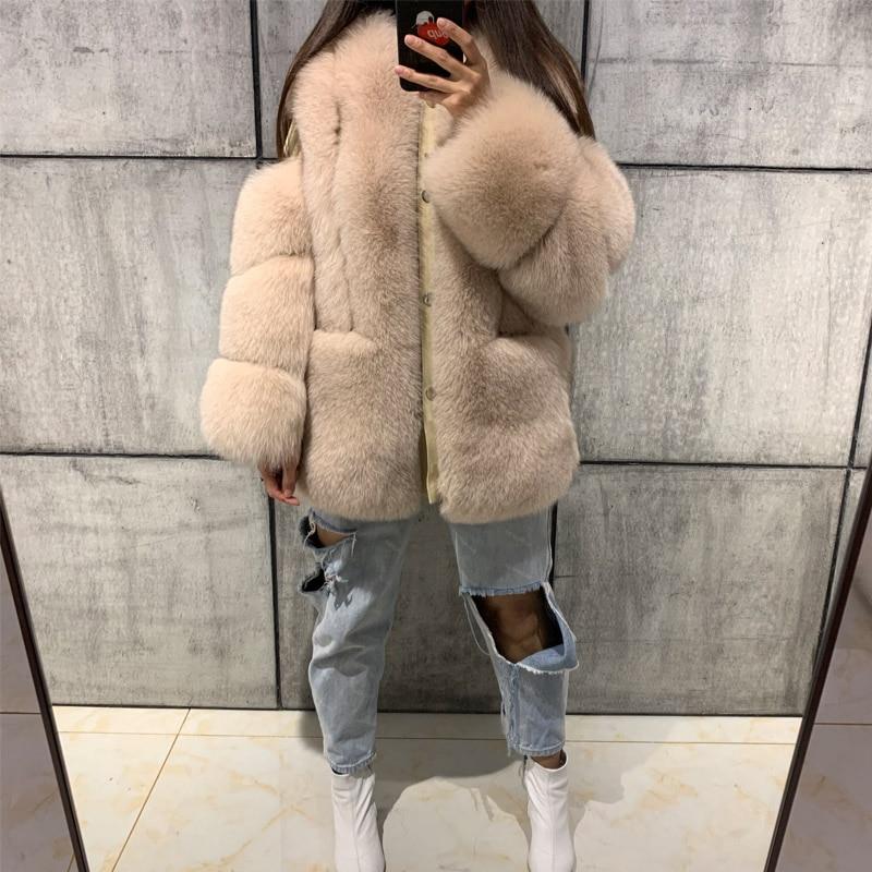 Natural Fur Coat Women Real Fur Coat Ladies Fox Fur Coat