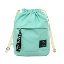 8PCS / LOT Women Canvas Drawstring Backpack Bag Portable Casual Women Travel Backpack  Portable Pouch