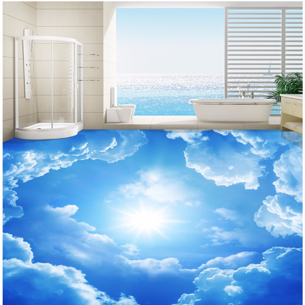 Buy free shipping romantic blue sky 3d for Bathroom floor mural sky