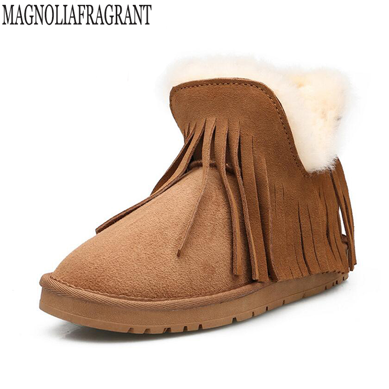 Winter boots shoes woman Genuine Leather sheepskin Fur one snow boots Tassels warm Casual Ankle boots botas mujer k409