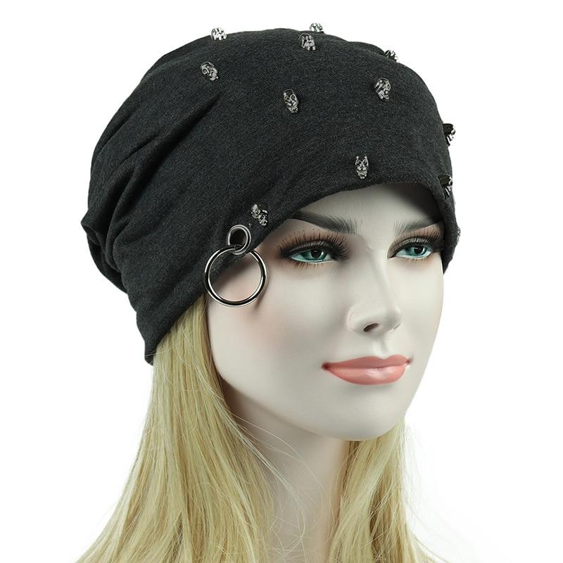 2017 Women Fashion Autumn Gorro Female Beanie with Rivet Men Caps Warm Hats For Women Adult Bonnet Skullies Hot Sale female caps for autumn