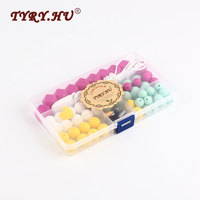 TYRY HU Round Shape Silicone Set Teething Beads For Baby Teether Nursing Necklace Food Grade