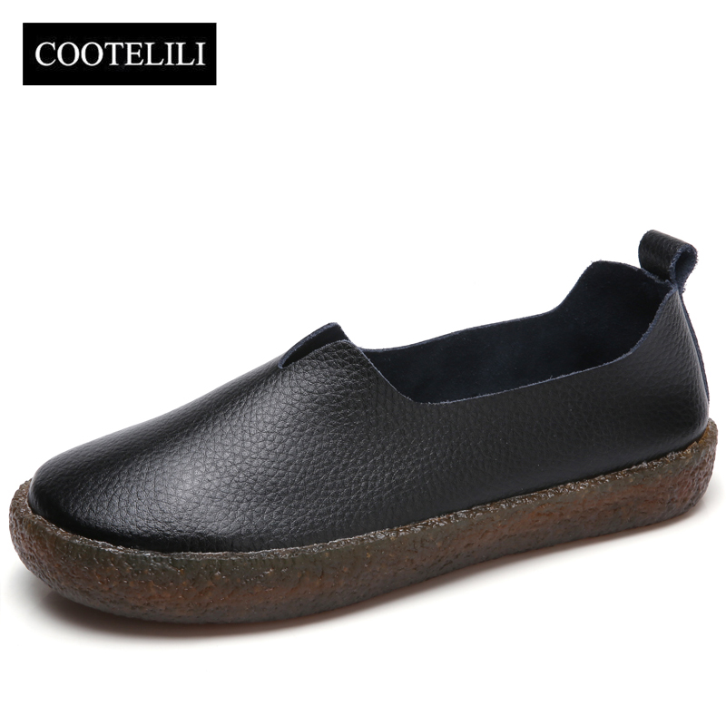 COOTELILI Women Flats Genuine Leather Shoes Woman Casual Loafers Slip-On Round Toe Ladies Oxfords White Plus Size 40 41 42 43 new vintage genuine cow leather women flats fashion round toe slip on women leather loafers ladies casual flat shoes size 35 43