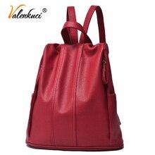 Valenkuci рюкзак женщин кожа рюкзак для женщин мешок женщин рюкзаки mochila feminina школьные сумки для подростков BD-185