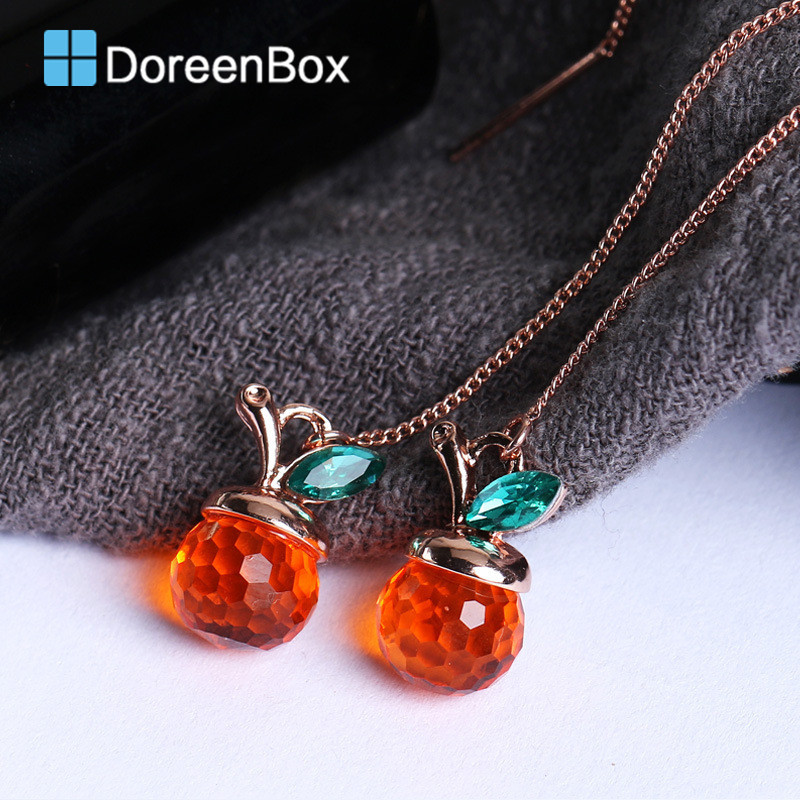 Doreen Box Alloy Gold Color Earrings Cherry Pendants Fashion Crystal Concise Ear Chain Earrings For Women,1 Pair