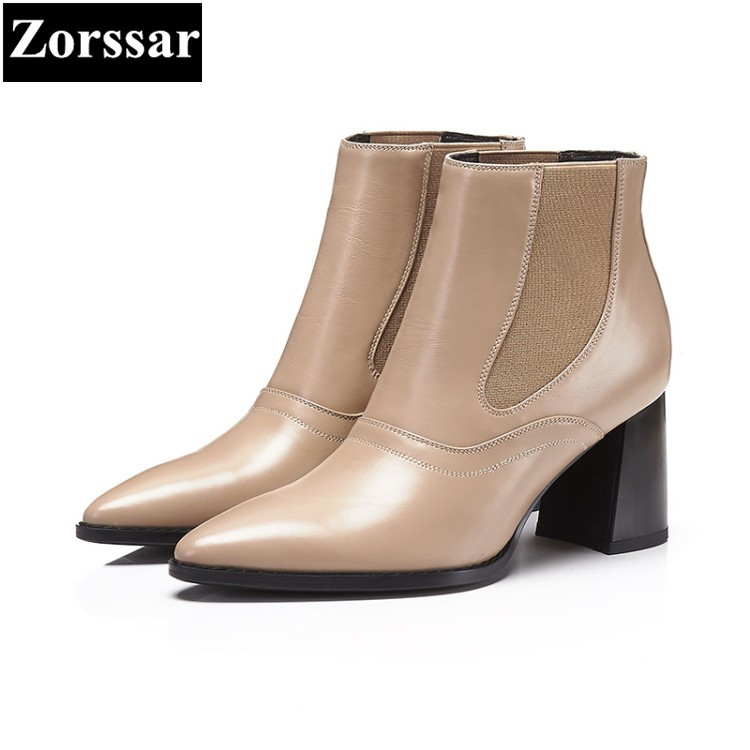 {Zorssar} 2017 NEW fashion Genuine Leather Womens boots pointed Toe thick heel ankle Boots for women High heels equestrian boots