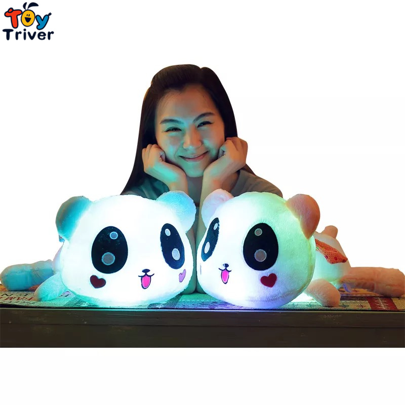 Triver Toy Colorful luminous led light up plush toys stuffed panda doll glowing baby boy girlfriend valentine gift free shipping plush colorful glowing led light luminous elephant toy stuffed doll pillow sleeping birthday gift for kids children baby triver