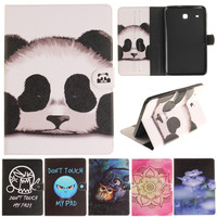 Cantoon Panda Owl Flower Painted Flip PU Leather SFor Samsung Galaxy Tab E 8 0 T377