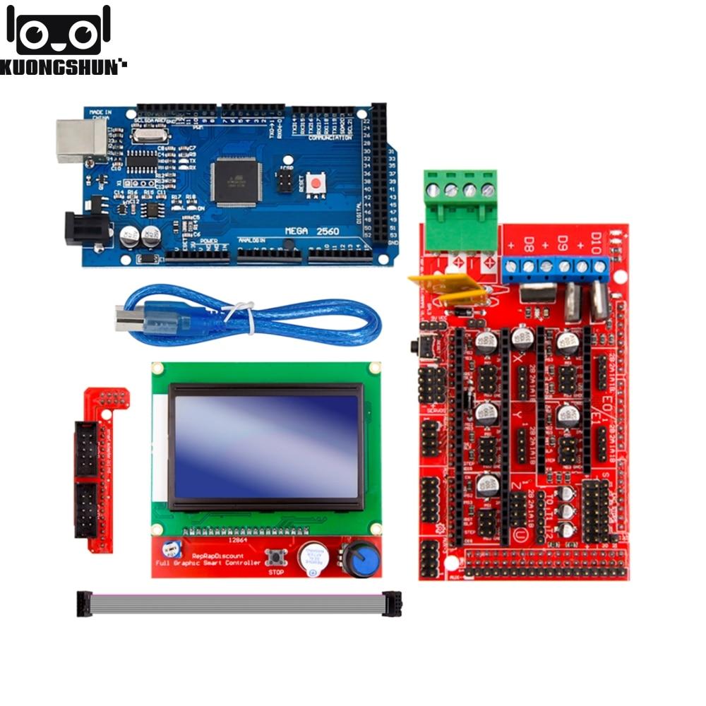 Excellent Mega 2560 R3 Mega2560 REV3 +RAMPS 1.4 Controller +RAMPS1.4 LCD 12864 LCD For 3D Printer Kit