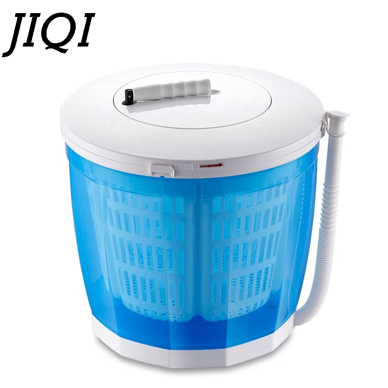 JIQI Hand-operated Baby Clothes Washing+Drying Machine Manual Mini Garment Washer Vegetables Fruit Cleaning 2kg Single Tub Dryer image