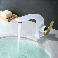 New Brass unique design Grilled White and Plating Golden hot and cold single lever basin faucet sink faucet bathroom basin tap