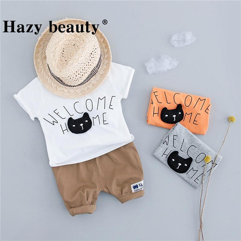 Baby Boy Gentleman Clothes Set Summer Suit For Toddler Kid Korean Cat Pattern Print Boy Clothes Set Infant Boy A612DR70