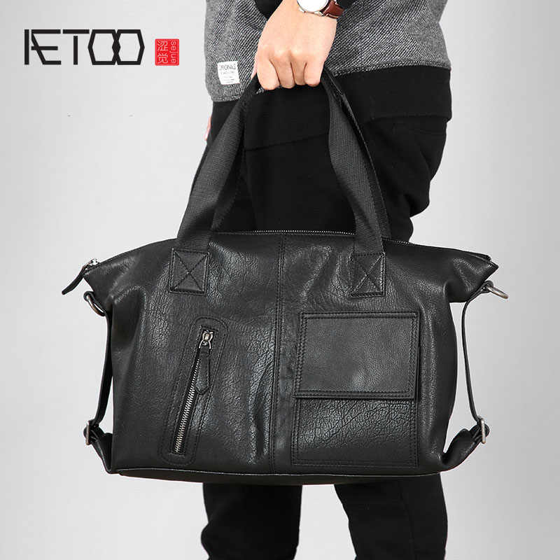 AETOO Original handbag leather men bag handmade business bag leather men bag shoulder Messenger bag casual men's briefcase