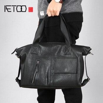 AETOO Original handbag leather men bag handmade business shoulder Messenger casual mens briefcase