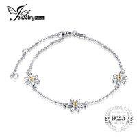 JewelryPalace Fleurs 0.1ct Créé Orange Sapphire Cheville Bracelet 925 En Argent Sterling Romantique Bijoux Accessoires meilleur cadeau
