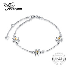 JewelryPalace Flowers 0.1ct Created Orange Sapphire Ankle Bracelet 925 Sterling Silver  Romantic Jewelry Accessories best gift