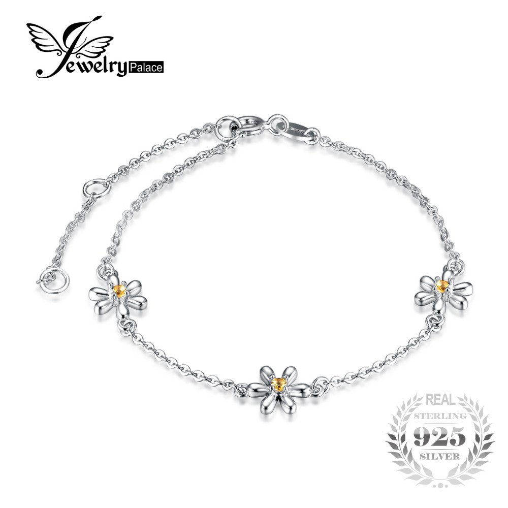 JewelryPalace Flowers Created Orange Sapphire Ankle Bracelet 925 Sterling Silver Romantic Jewelry Accessories best gift