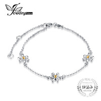 JewelryPalace Kwiaty 0.1ct Utworzono Pomarańczowy Szafir Kostki Bransoletka 925 Sterling Silver Romantic Biżuteria najlepszy prezent