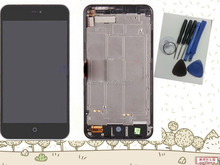 Original Meizu MX2 Touch Screen Panel digitizer+LCD Display assembly+frame +open tools Black Color free shipping