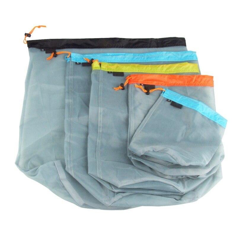 Ultralight Drawstring Mesh Stuff Sack Storage Bag Outdoor Taveling Camping Hike Climbing Laundry Cloth Pouch Clothing Organ