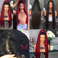 Silk Top Full Lace Wigs Ombre 1b/Burgundy Silk Straight Human Hair  Wig Lace Front Human Hair Wigs With Baby Hair Silk Base Wigs