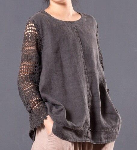 Nouvelle sortie de produit à l'été 2017, le design original 100% coton lin lâche grands mètres de femmes T-shirt
