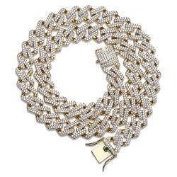 Conjunto de cadenas cubanas de 14mm para hombre, Color dorado, plateado, Hip Hop, empedrado con piedras, CZ, collar de rapero, joyería