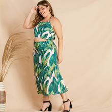 Plus Size Sets for Women Outfit Large Two Piece Co-ord Set Summer Crop Top and Skirt Suits Green Print Floral Clothing 2020 2PCS