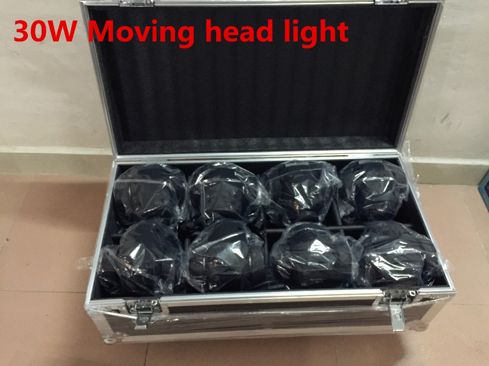 8PCS 30W + flightcase +1m Dmx cable LED Spot Moving Head Light/USA Luminums 30W LED DJ Spot Light new 1 30w led spot light 6 8w wash light led display