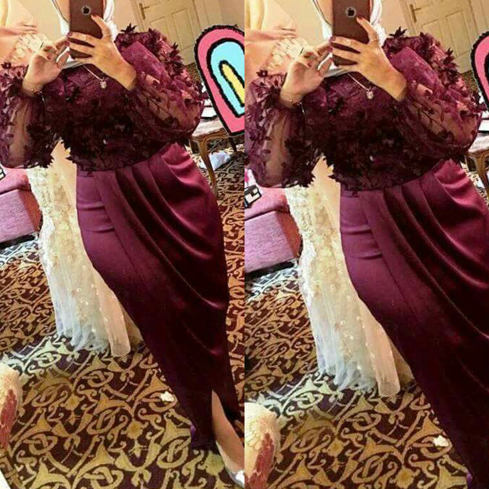 Burgundy Prom Dresses 2019 Crew Neckline Long Sleeve Pleats Side Slit Evening Dresses Ankle Length Evening Gowns