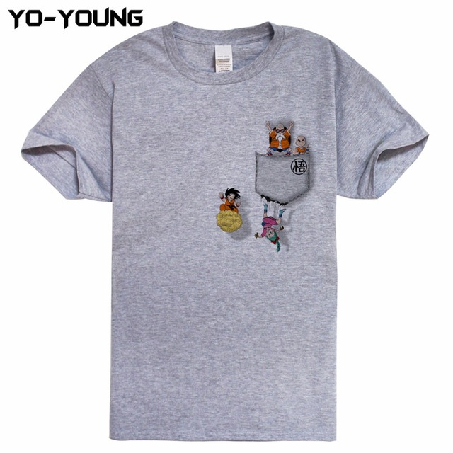 Funny Dragon Ball Pocket Design Men T Shirts Digital Printing 100% 180gsm Combed Cotton Funny T-shirts Homme Customized