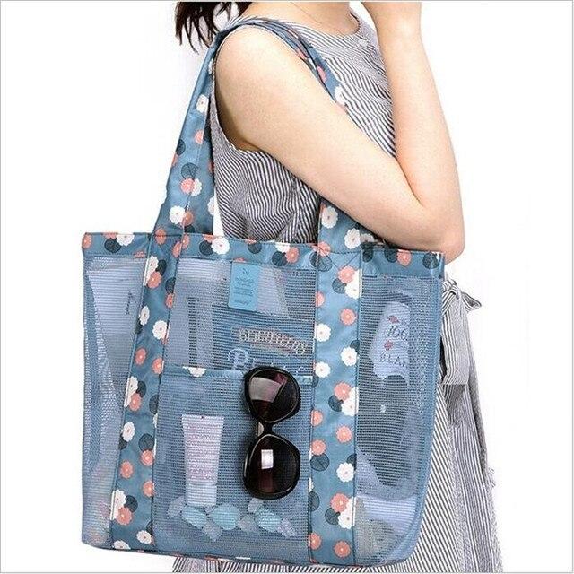 Summer Travel Grid Oxford cloth FemaleCosmetic Shoulder bag ...