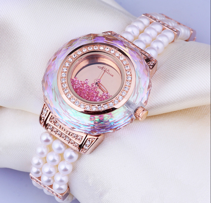 Vogue MELISSA Women Pearls Watches Elegant Lady Party Dress Jewelry Watch Multi faceted Cutting Rhinestone Relojes Quartz MG956
