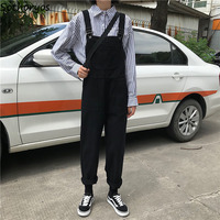 Jumpsuits Women Retro Loose Student Korean Style Strap Denim Jumpsuit Womens Fashion Simple Solid All match Casual Chic Trousers