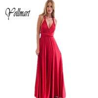 Yollmart Women Maxi Club Dress Red Long Dress Party Multiway Convertible Bridesmaids Beach Dresses